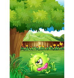 A yard with a monster resting under the tree vector image vector image