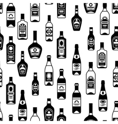 Alcohol drinks seamless pattern Bottles for vector image