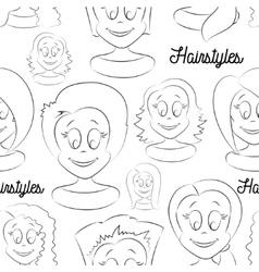 Fashion female avatars Hairstyles pattern vector image