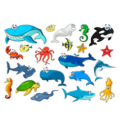 marine animal isolated cartoon icon set vector image