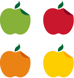 set of different apples with curved edge design vector image vector image