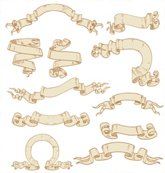 Set of ribbons-banners scrolls of parchment vector image