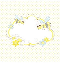 Baby background with bees and flowers vector image