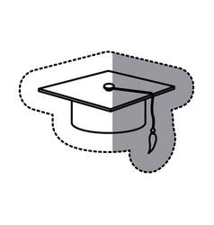 contour emblem graduation hat icon vector image