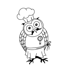 Cute doodle owl with cake on the head young lady vector