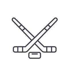 hockey flat line concept vector image vector image