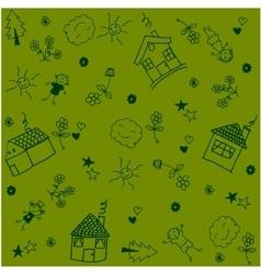 House set garden doodle art vector image vector image