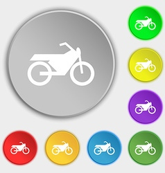 Motorbike icon sign Symbol on eight flat buttons vector image