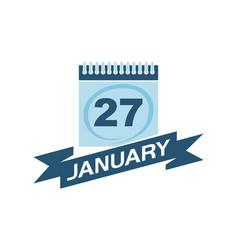 27 january calendar with ribbon vector