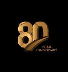 80 years gold elegant anniversary celebration vector