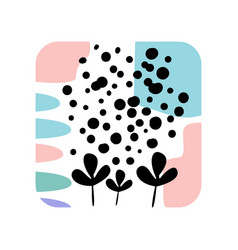 abstract textures with creative plants in a square vector image