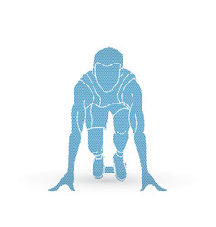 athlete runner a man prepare start running action vector image