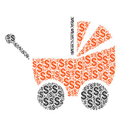 baby carriage composition of dollar vector image