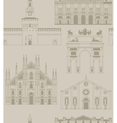 Background with famous Milan landmarks vector