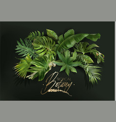 Banner with green tropical leaves on green vector