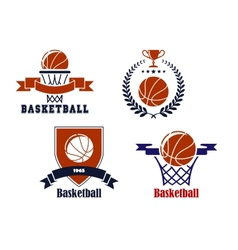 Basketball team emblems or symbols vector image