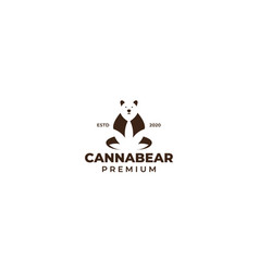 Bear with cannabis leaf logo design vector