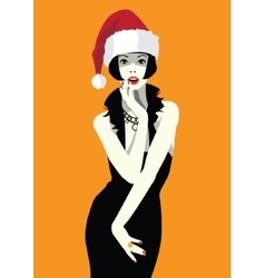 Beautiful woman face in the hat of Santa Claus vector