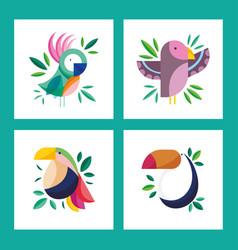 beauty birds foliage nature fauna cartoon set vector image