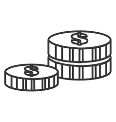 Black and white coins graphic vector
