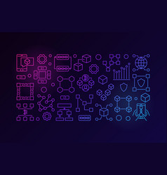 Blockchain colorful line banner minimal vector