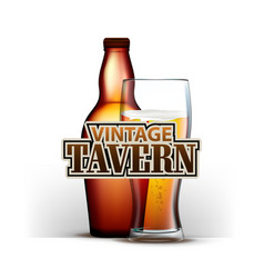 bottle and glass of beer vintage tavern vector image