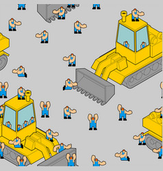 Bulldozer and workers pattern seamless road vector