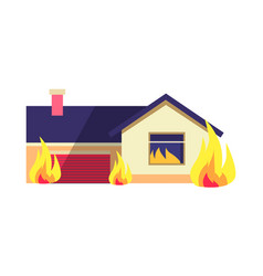 burning building isolated on white background vector image