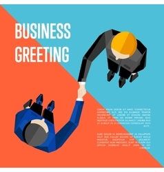 Business greeting Top view partners handshaking vector