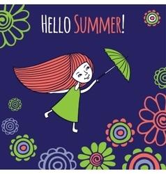 Card Hello summer vector image