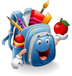 Cartoon school bag holding red apple vector