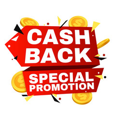 cash back label money refund banner with vector image