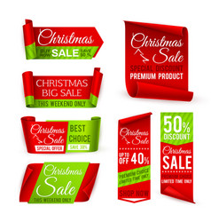 christmas sale banners red silk ribbons with vector image
