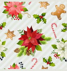 christmas winter poinsettia flowers seamless vector image