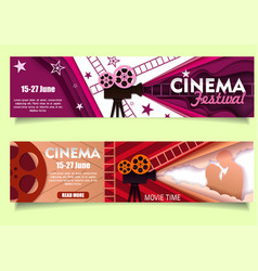 Cinema movie time paper cut banner template vector