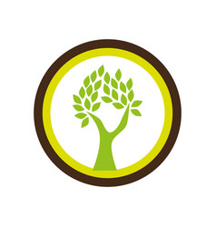 Circular shape emblem with abstract tree vector