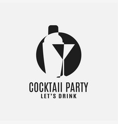Cocktail shaker with martini glass logo vector