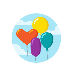 colorful cartoon bunch of balloons happy birthday vector image