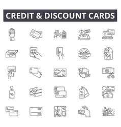 credit and discount cards line icons signs vector image