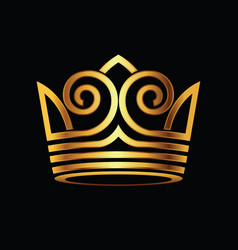 Crown modern gold logo vector