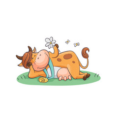 Cute and funny cartoon farm cow with a bell and vector