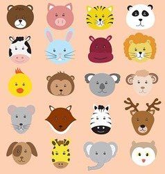 Cute animals faces icons collection vector