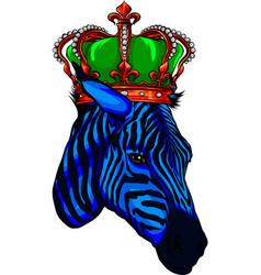 cute zebra wear a crown vector image