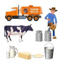 Dairy farm set vector