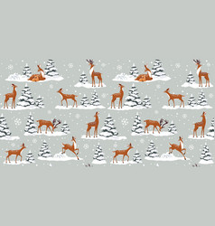 Deer winter vector