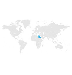 egypt marked by blue in grey world political map vector image