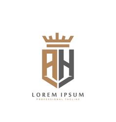 Elegant wordmark ah initial shield crown logo vector