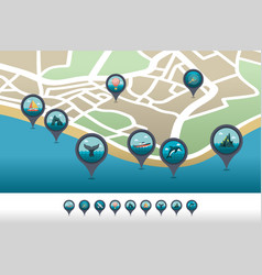 Excursion sea pin map icon located on map vector