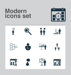 executive icons set with management improvements vector image