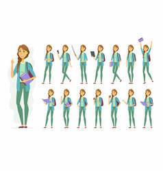 female student - cartoon people character vector image